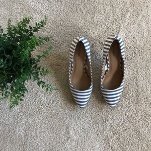 Merona White and Navy Striped Heels
